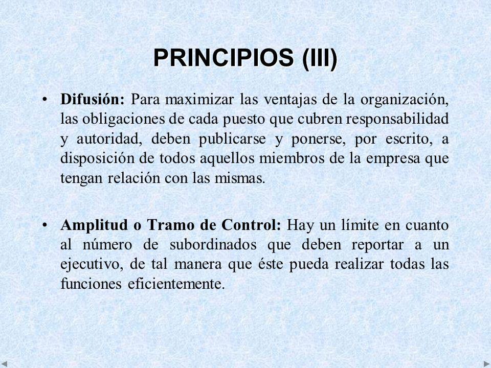 PRINCIPIOS (III) Difusión: Para maximizar las ventajas de la organización, las obligaciones de cada puesto que cubren responsabilidad y autoridad, deb