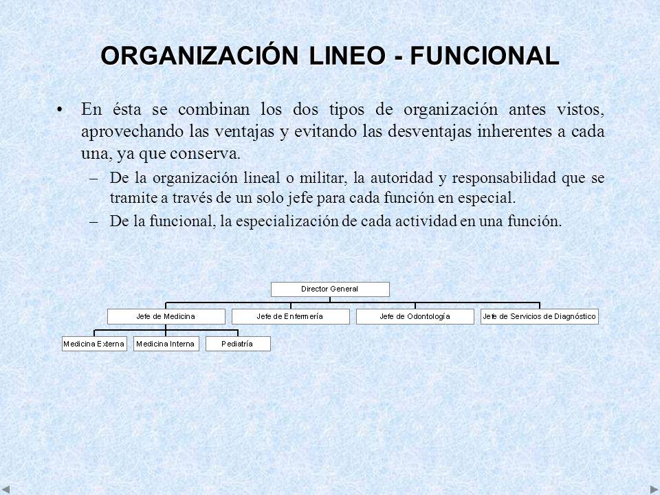 ORGANIZACIÓN LINEO - FUNCIONAL En ésta se combinan los dos tipos de organización antes vistos, aprovechando las ventajas y evitando las desventajas in
