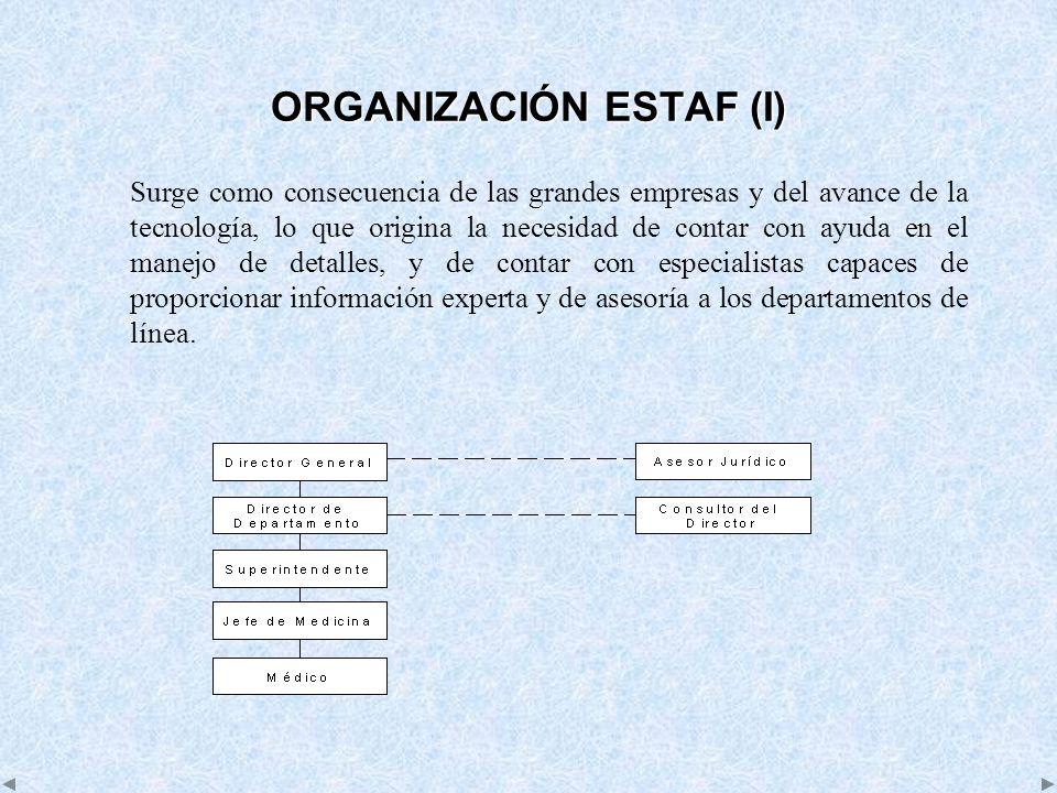 ORGANIZACIÓN ESTAF (I) Surge como consecuencia de las grandes empresas y del avance de la tecnología, lo que origina la necesidad de contar con ayuda