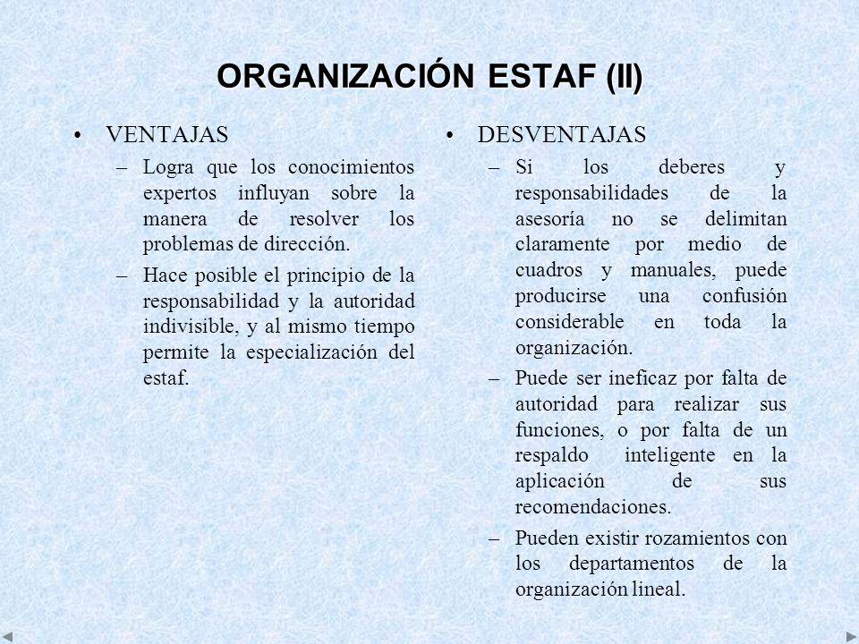 ORGANIZACIÓN ESTAF (II) VENTAJAS –Logra que los conocimientos expertos influyan sobre la manera de resolver los problemas de dirección. –Hace posible