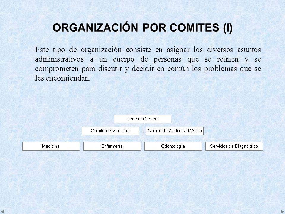 ORGANIZACIÓN POR COMITES (I) Este tipo de organización consiste en asignar los diversos asuntos administrativos a un cuerpo de personas que se reúnen