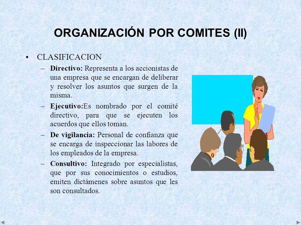 ORGANIZACIÓN POR COMITES (II) CLASIFICACION –Directivo: Representa a los accionistas de una empresa que se encargan de deliberar y resolver los asunto