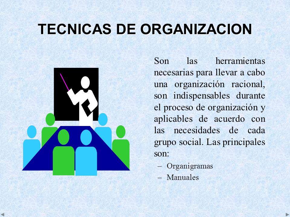 TECNICAS DE ORGANIZACION Son las herramientas necesarias para llevar a cabo una organización racional, son indispensables durante el proceso de organi