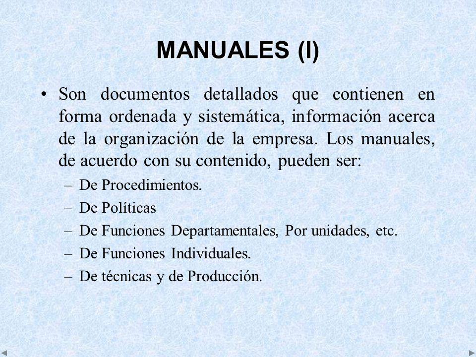 MANUALES (I) Son documentos detallados que contienen en forma ordenada y sistemática, información acerca de la organización de la empresa. Los manuale