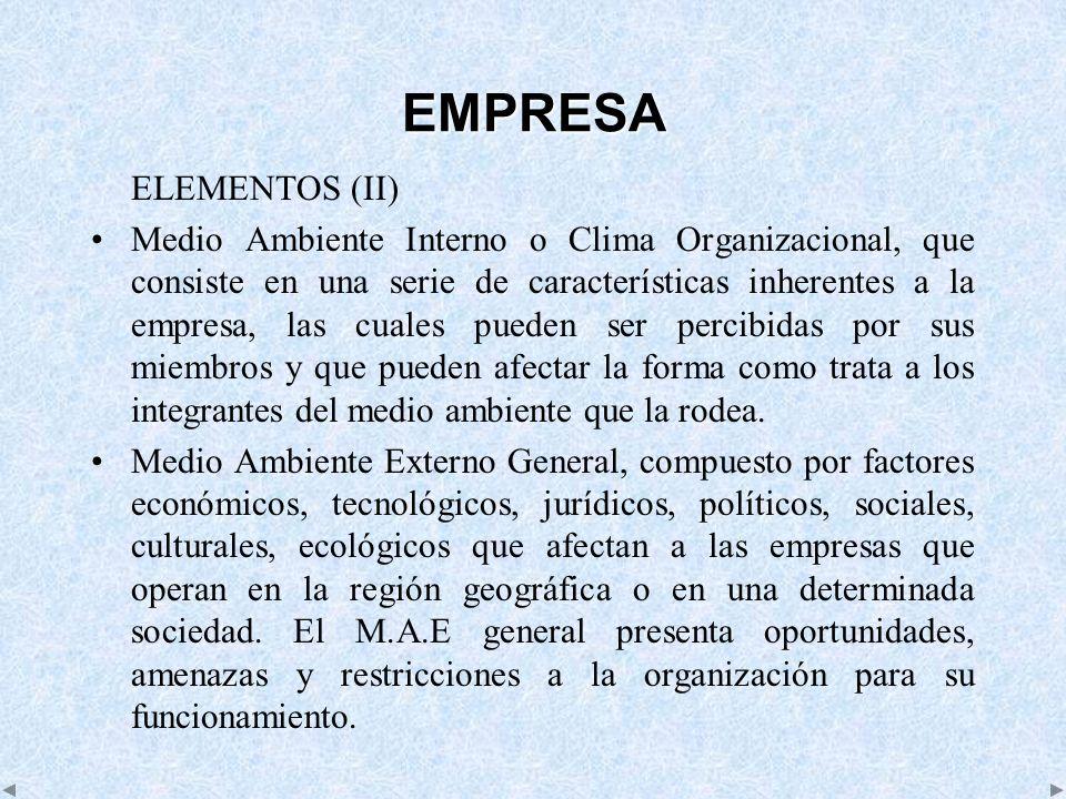 EMPRESA ELEMENTOS (II) Medio Ambiente Interno o Clima Organizacional, que consiste en una serie de características inherentes a la empresa, las cuales