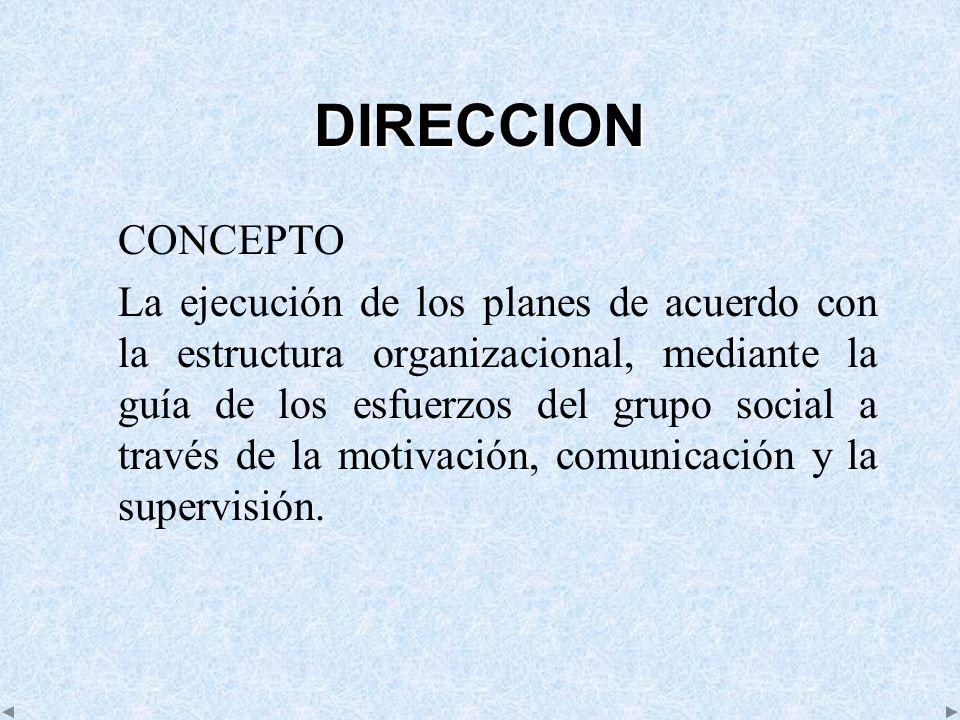DIRECCION CONCEPTO La ejecución de los planes de acuerdo con la estructura organizacional, mediante la guía de los esfuerzos del grupo social a través