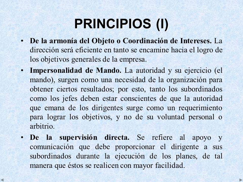 PRINCIPIOS (I) De la armonía del Objeto o Coordinación de Intereses. La dirección será eficiente en tanto se encamine hacia el logro de los objetivos