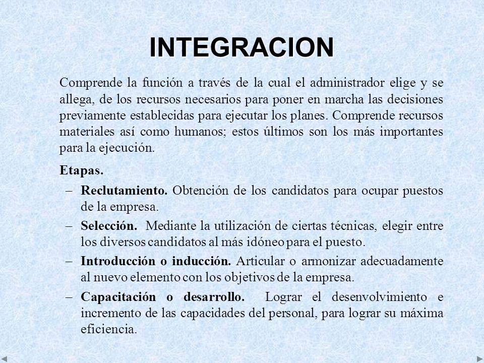 INTEGRACION Comprende la función a través de la cual el administrador elige y se allega, de los recursos necesarios para poner en marcha las decisione
