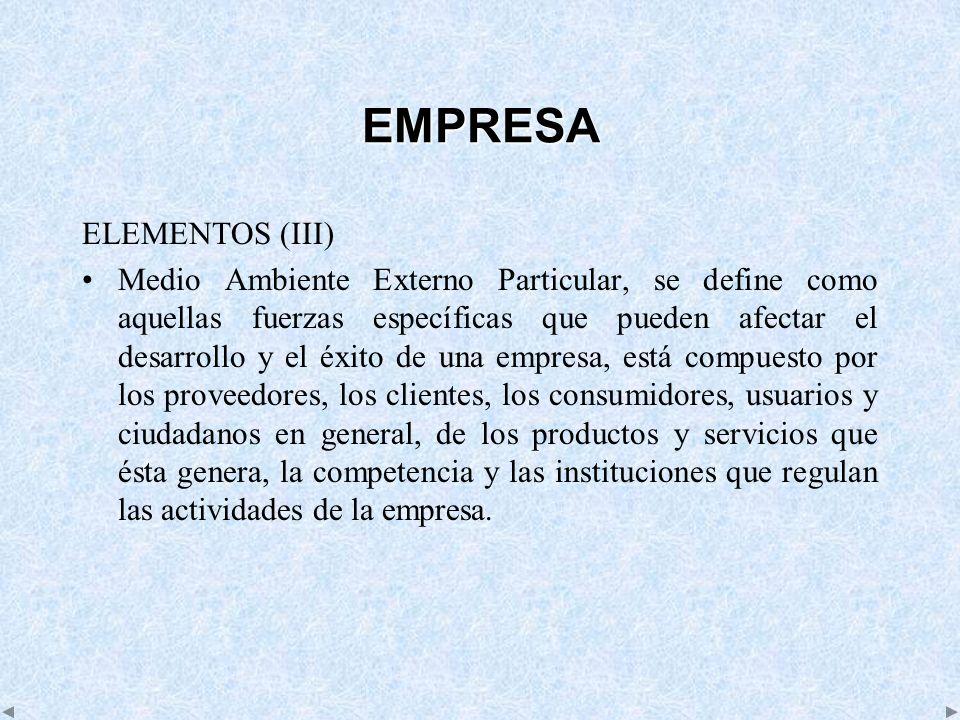 EMPRESA ELEMENTOS (III) Medio Ambiente Externo Particular, se define como aquellas fuerzas específicas que pueden afectar el desarrollo y el éxito de