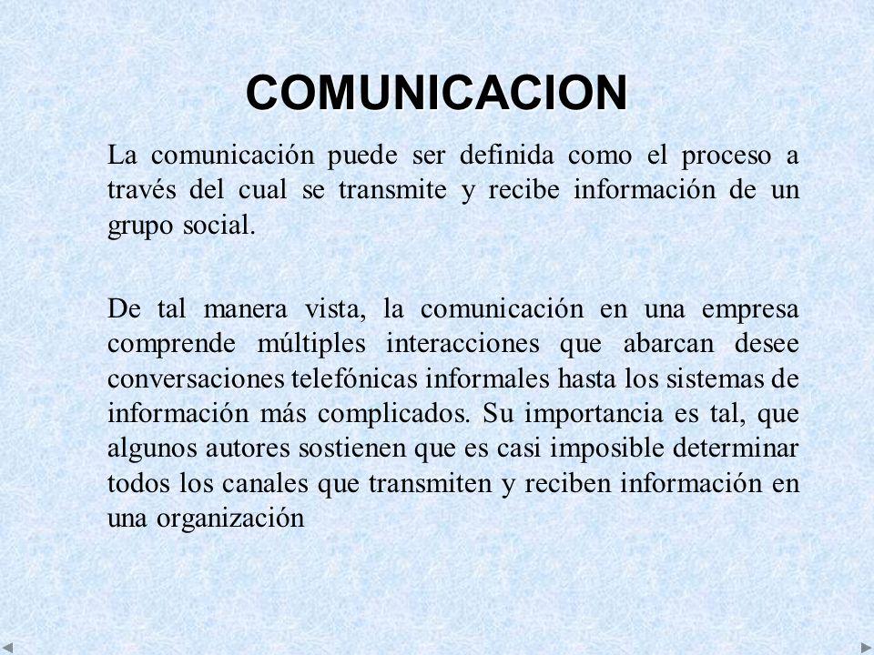 COMUNICACION La comunicación puede ser definida como el proceso a través del cual se transmite y recibe información de un grupo social. De tal manera