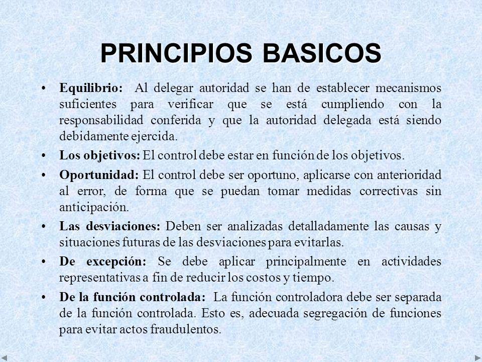 PRINCIPIOS BASICOS Equilibrio: Al delegar autoridad se han de establecer mecanismos suficientes para verificar que se está cumpliendo con la responsab