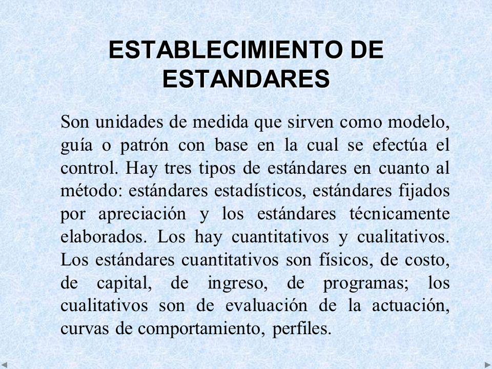 ESTABLECIMIENTO DE ESTANDARES Son unidades de medida que sirven como modelo, guía o patrón con base en la cual se efectúa el control. Hay tres tipos d