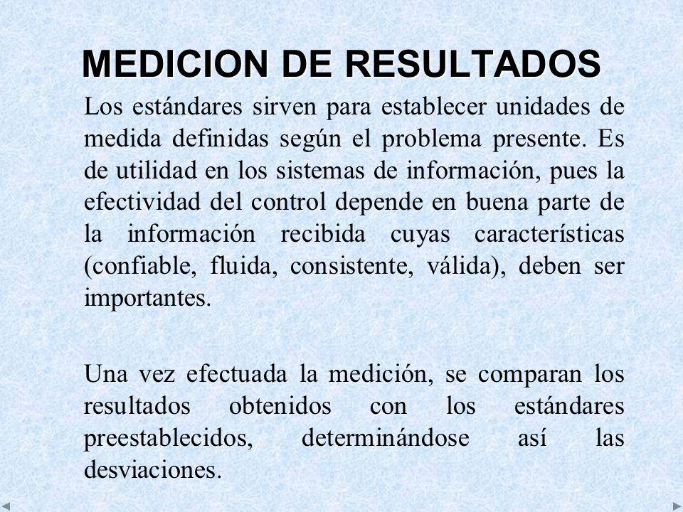 MEDICION DE RESULTADOS Los estándares sirven para establecer unidades de medida definidas según el problema presente. Es de utilidad en los sistemas d