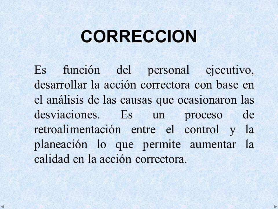 CORRECCION Es función del personal ejecutivo, desarrollar la acción correctora con base en el análisis de las causas que ocasionaron las desviaciones.
