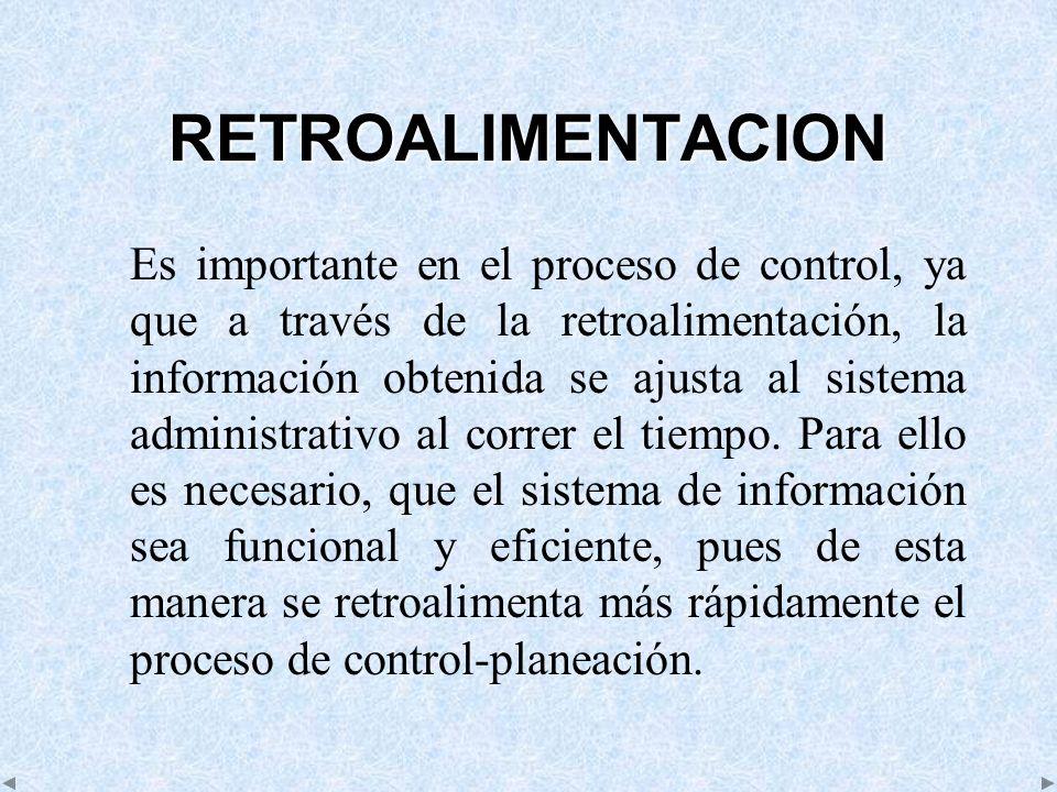 RETROALIMENTACION Es importante en el proceso de control, ya que a través de la retroalimentación, la información obtenida se ajusta al sistema admini