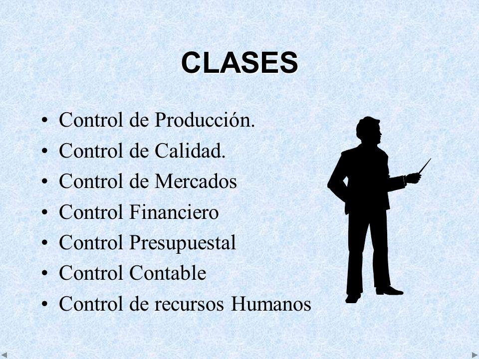 CLASES Control de Producción. Control de Calidad. Control de Mercados Control Financiero Control Presupuestal Control Contable Control de recursos Hum