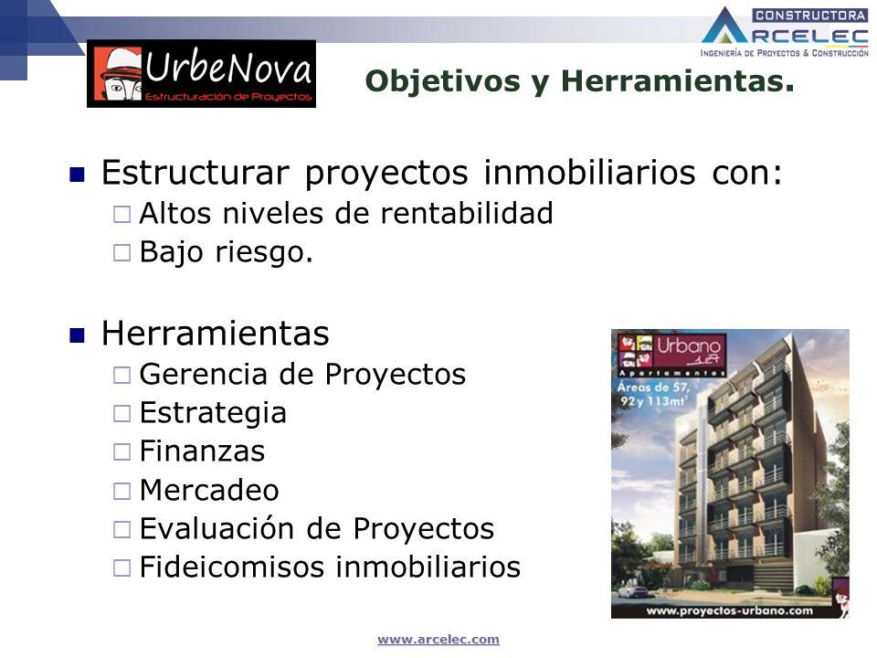 www.arcelec.com Estructurar proyectos inmobiliarios con: Altos niveles de rentabilidad Bajo riesgo. Herramientas Gerencia de Proyectos Estrategia Fina