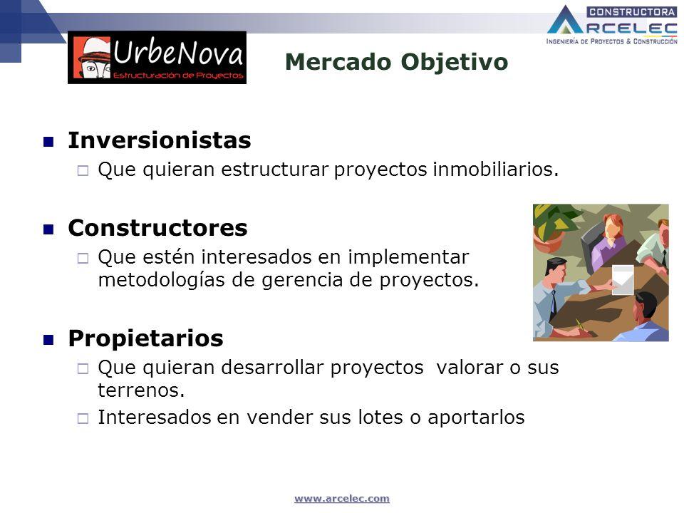 www.arcelec.com Mercado Objetivo Inversionistas Que quieran estructurar proyectos inmobiliarios. Constructores Que estén interesados en implementar me