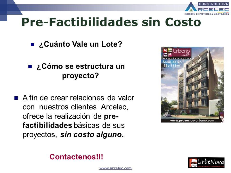 www.arcelec.com Pre-Factibilidades sin Costo Ing. Msc Camilo BLANCO VARGAS, Abril 2009 ¿Cuánto Vale un Lote? ¿Cómo se estructura un proyecto? A fin de