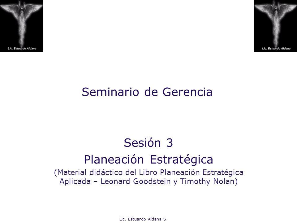 Lic. Estuardo Aldana S. Seminario de Gerencia Sesión 3 Planeación Estratégica (Material didáctico del Libro Planeación Estratégica Aplicada – Leonard