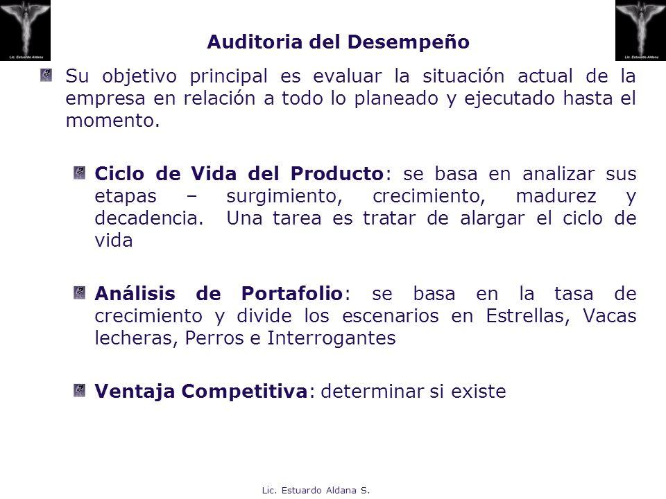 Lic. Estuardo Aldana S. Su objetivo principal es evaluar la situación actual de la empresa en relación a todo lo planeado y ejecutado hasta el momento