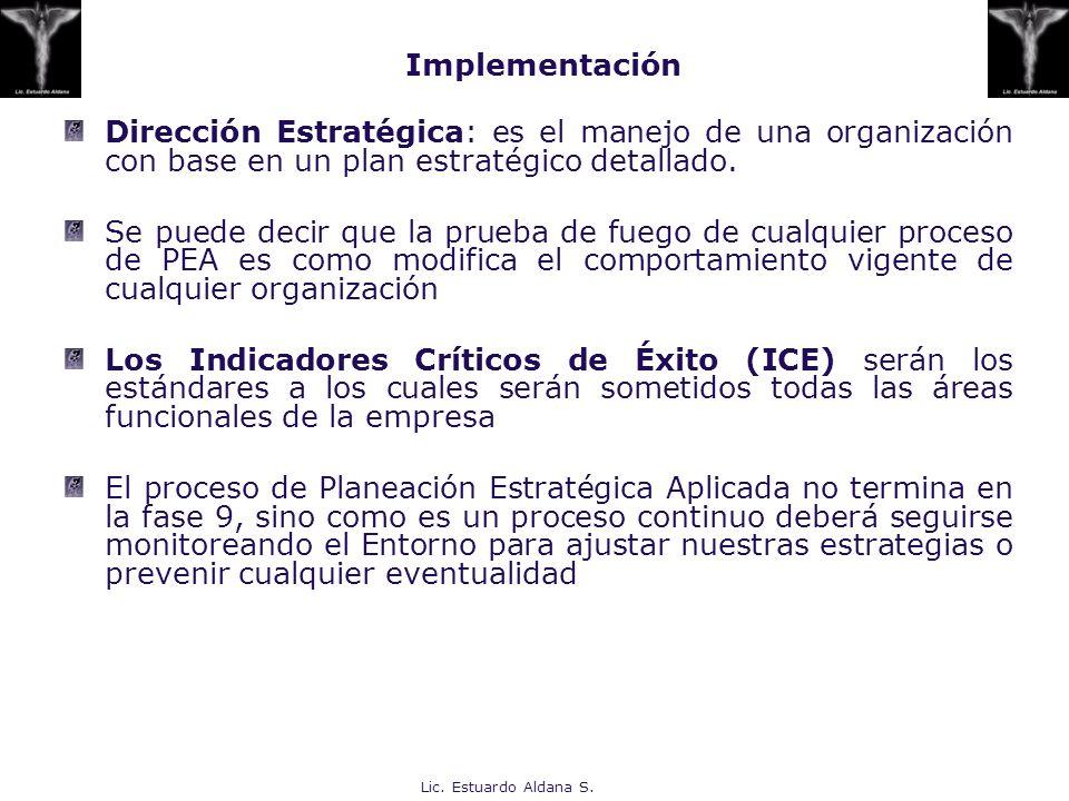 Lic. Estuardo Aldana S. Dirección Estratégica: es el manejo de una organización con base en un plan estratégico detallado. Se puede decir que la prueb