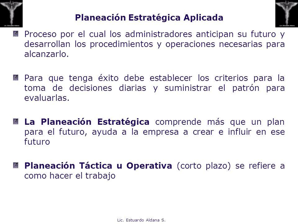 Lic. Estuardo Aldana S. Planeación Estratégica Aplicada Proceso por el cual los administradores anticipan su futuro y desarrollan los procedimientos y