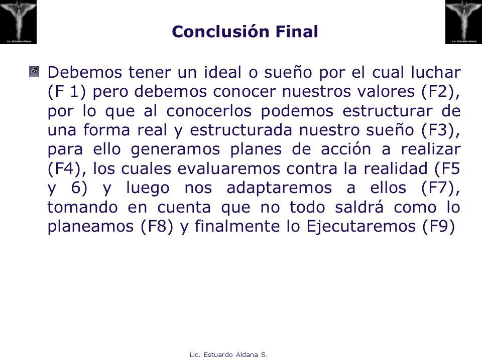 Lic. Estuardo Aldana S. Conclusión Final Debemos tener un ideal o sueño por el cual luchar (F 1) pero debemos conocer nuestros valores (F2), por lo qu