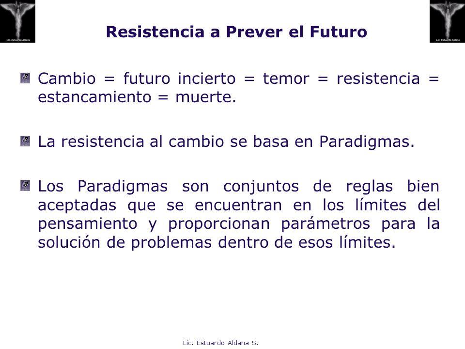 Lic. Estuardo Aldana S. Resistencia a Prever el Futuro Cambio = futuro incierto = temor = resistencia = estancamiento = muerte. La resistencia al camb