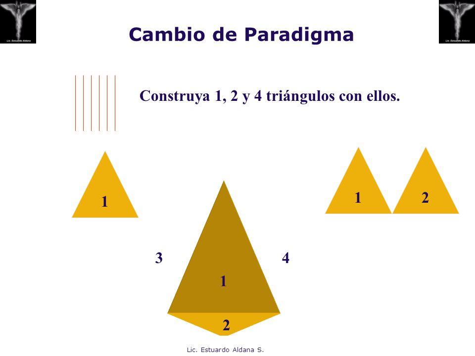 Lic. Estuardo Aldana S. Cambio de Paradigma Construya 1, 2 y 4 triángulos con ellos. 1 12 1 4 2 3