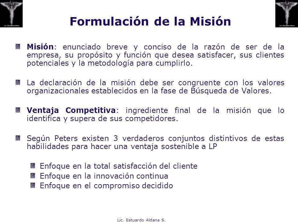 Lic. Estuardo Aldana S. Formulación de la Misión Misión: enunciado breve y conciso de la razón de ser de la empresa, su propósito y función que desea