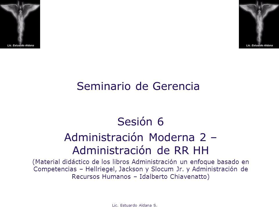 Lic. Estuardo Aldana S. Seminario de Gerencia Sesión 6 Administración Moderna 2 – Administración de RR HH (Material didáctico de los libros Administra