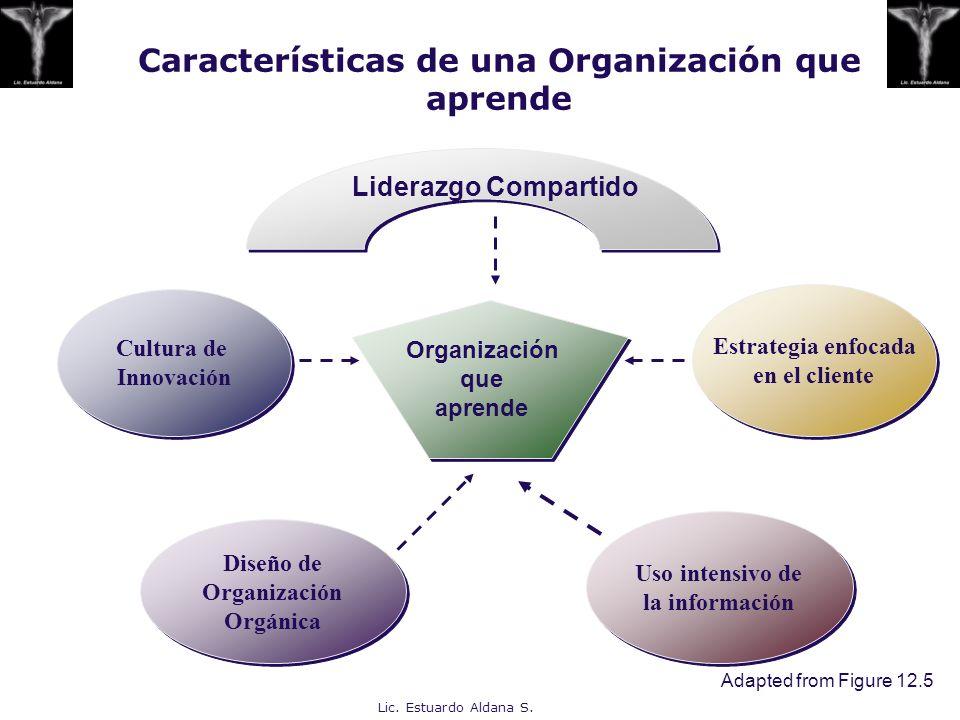 Lic. Estuardo Aldana S. Características de una Organización que aprende Cultura de Innovación Cultura de Innovación Estrategia enfocada en el cliente
