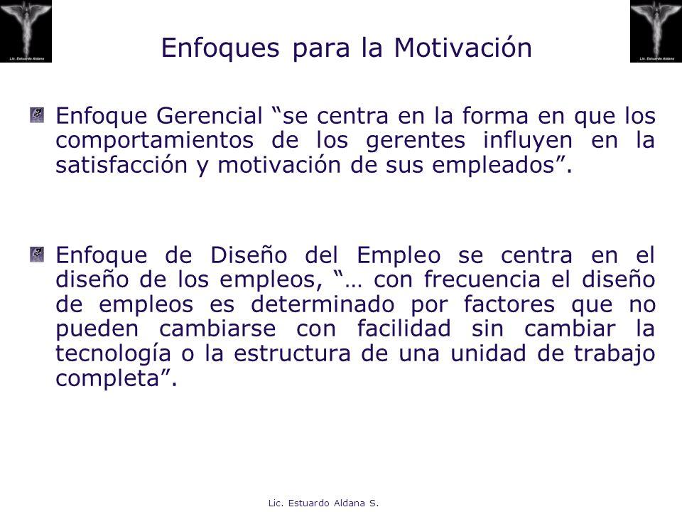 Lic. Estuardo Aldana S. Enfoques para la Motivación Enfoque Gerencial se centra en la forma en que los comportamientos de los gerentes influyen en la