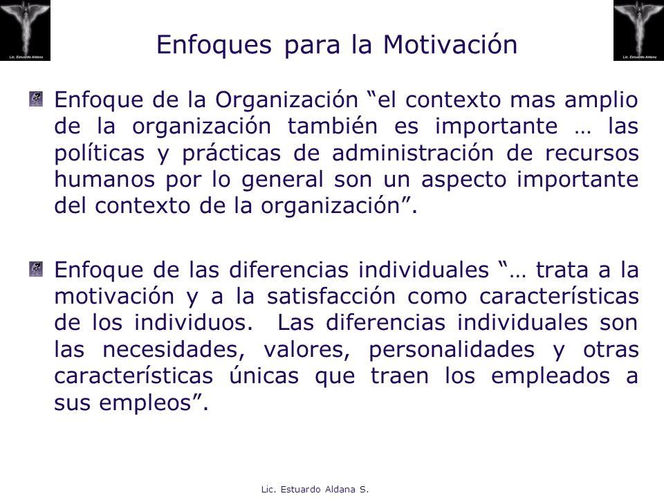 Lic. Estuardo Aldana S. Enfoques para la Motivación Enfoque de la Organización el contexto mas amplio de la organización también es importante … las p