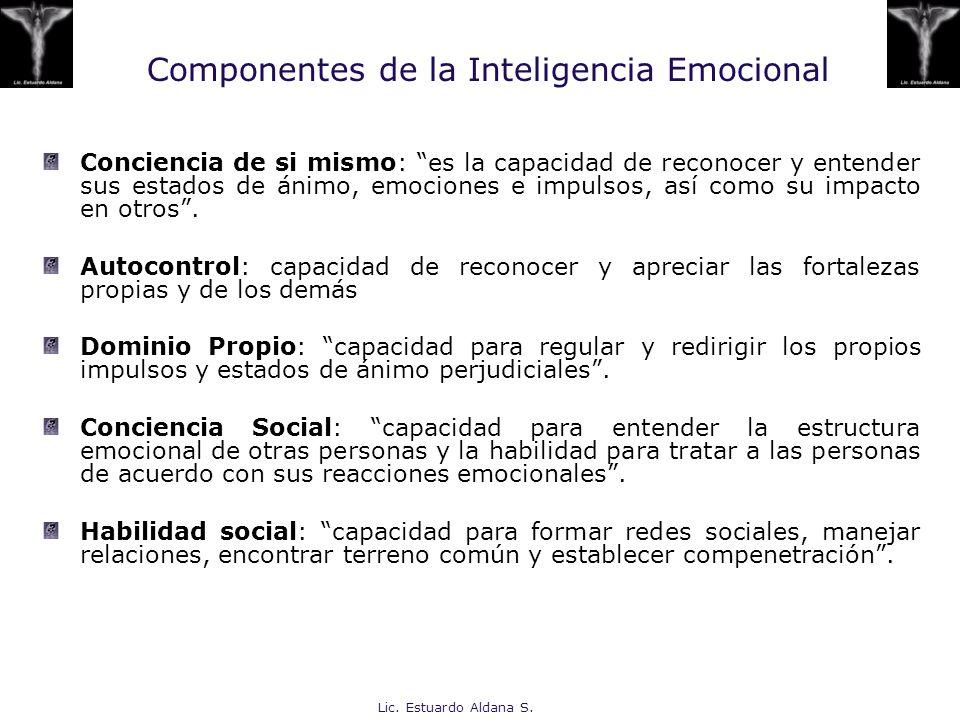 Lic. Estuardo Aldana S. Componentes de la Inteligencia Emocional Conciencia de si mismo: es la capacidad de reconocer y entender sus estados de ánimo,