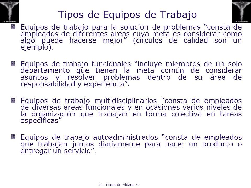 Lic. Estuardo Aldana S. Tipos de Equipos de Trabajo Equipos de trabajo para la solución de problemas consta de empleados de diferentes áreas cuya meta