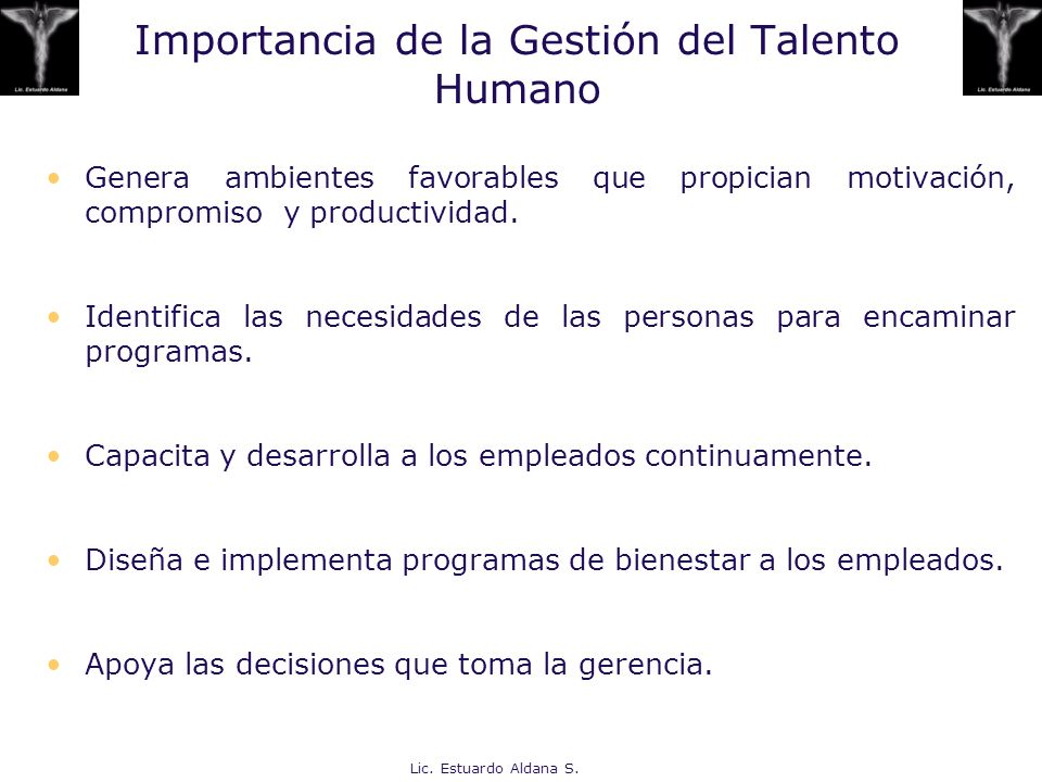 Importancia de la Gestión del Talento Humano Genera ambientes favorables que propician motivación, compromiso y productividad. Identifica las necesida