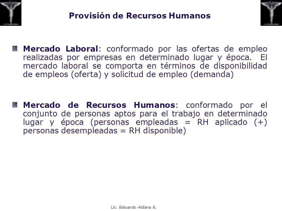 Provisión de Recursos Humanos Mercado Laboral: conformado por las ofertas de empleo realizadas por empresas en determinado lugar y época. El mercado l