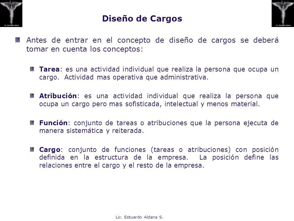 Lic. Estuardo Aldana S. Diseño de Cargos Antes de entrar en el concepto de diseño de cargos se deberá tomar en cuenta los conceptos: Tarea: es una act