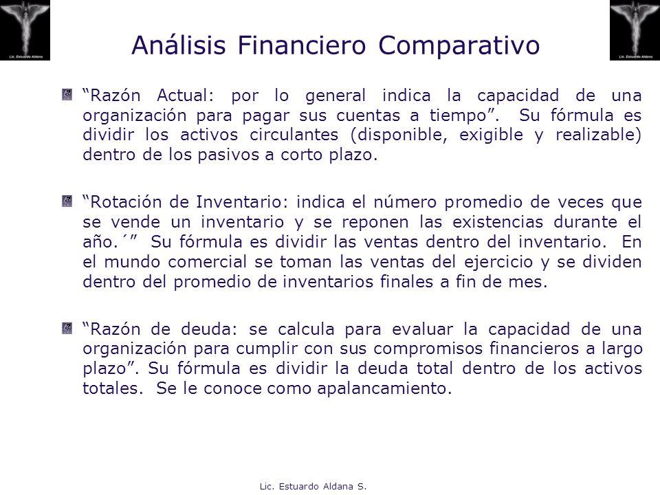 Lic. Estuardo Aldana S. Análisis Financiero Comparativo Razón Actual: por lo general indica la capacidad de una organización para pagar sus cuentas a