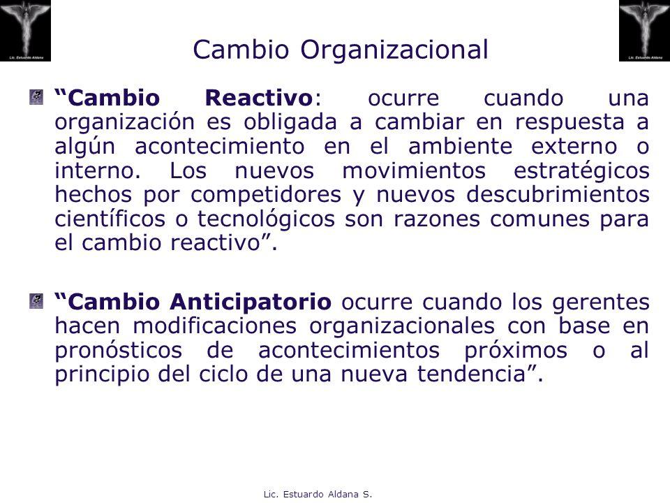 Lic. Estuardo Aldana S. Cambio Organizacional Cambio Reactivo: ocurre cuando una organización es obligada a cambiar en respuesta a algún acontecimient