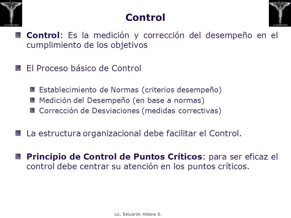 Lic. Estuardo Aldana S. Control: Es la medición y corrección del desempeño en el cumplimiento de los objetivos El Proceso básico de Control Establecim