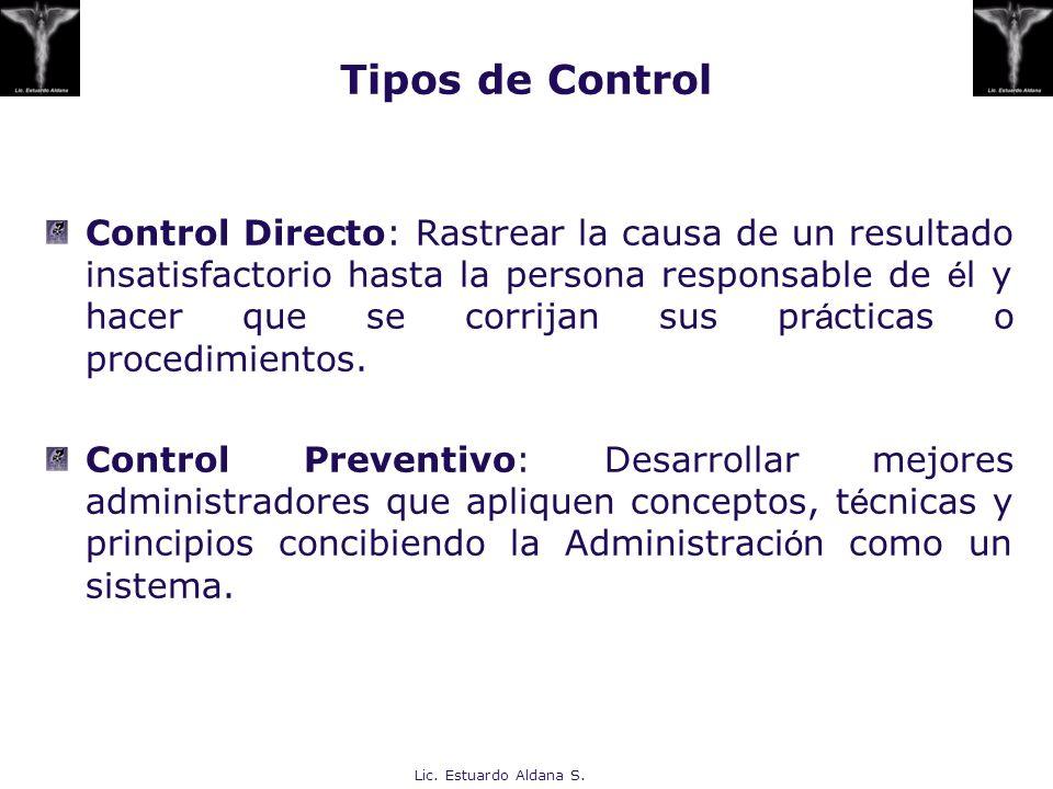 Lic. Estuardo Aldana S. Control Directo: Rastrear la causa de un resultado insatisfactorio hasta la persona responsable de é l y hacer que se corrijan