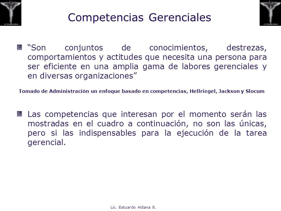 Lic. Estuardo Aldana S. Competencias Gerenciales Son conjuntos de conocimientos, destrezas, comportamientos y actitudes que necesita una persona para