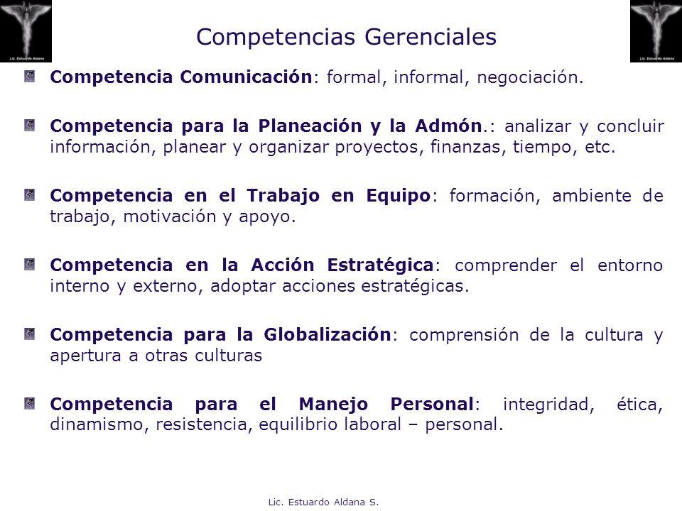 Lic. Estuardo Aldana S. Competencia Comunicación: formal, informal, negociación. Competencia para la Planeación y la Admón.: analizar y concluir infor