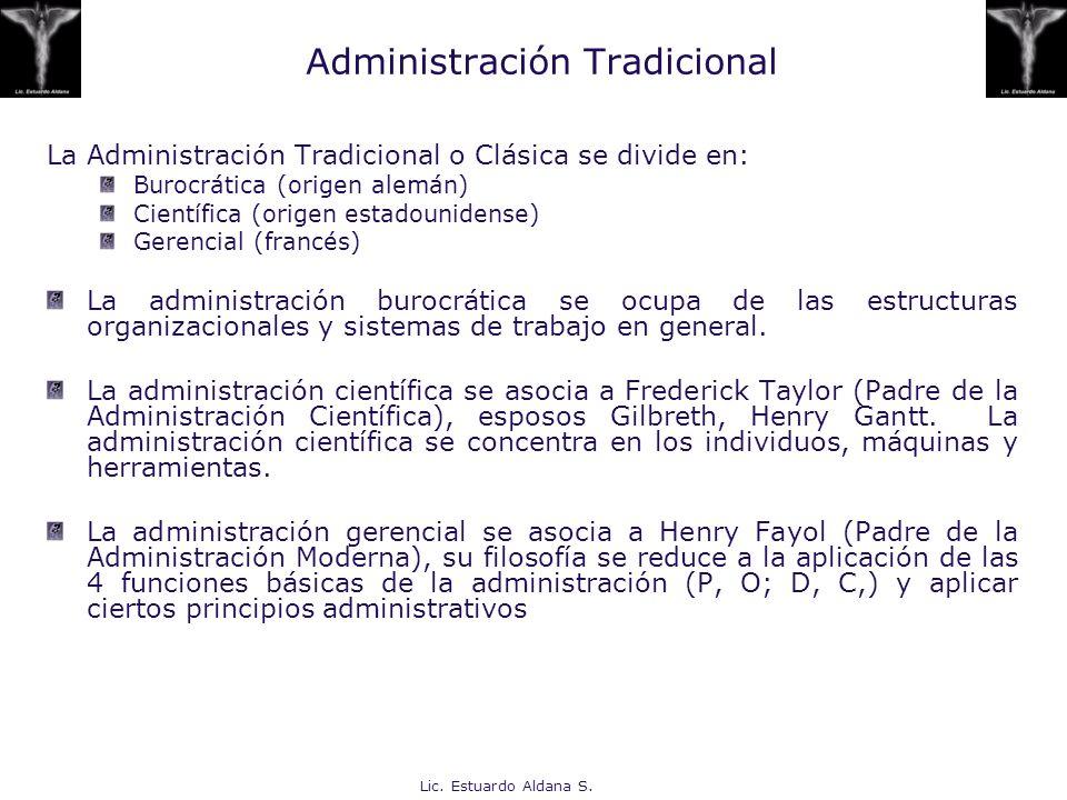 Lic. Estuardo Aldana S. Administración Tradicional La Administración Tradicional o Clásica se divide en: Burocrática (origen alemán) Científica (orige