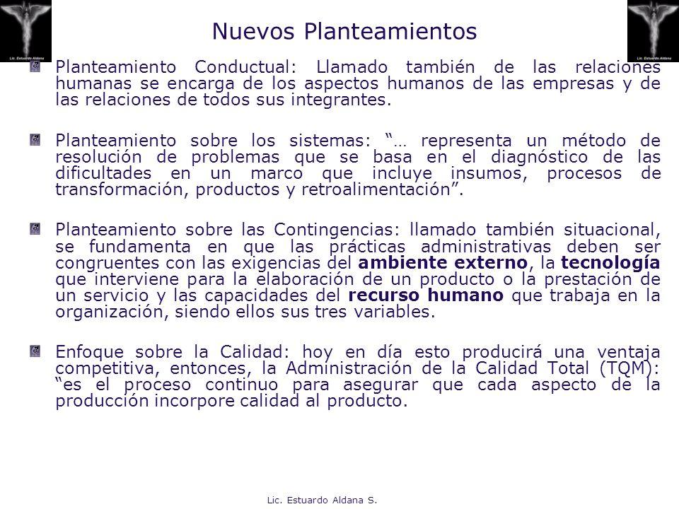 Lic. Estuardo Aldana S. Nuevos Planteamientos Planteamiento Conductual: Llamado también de las relaciones humanas se encarga de los aspectos humanos d