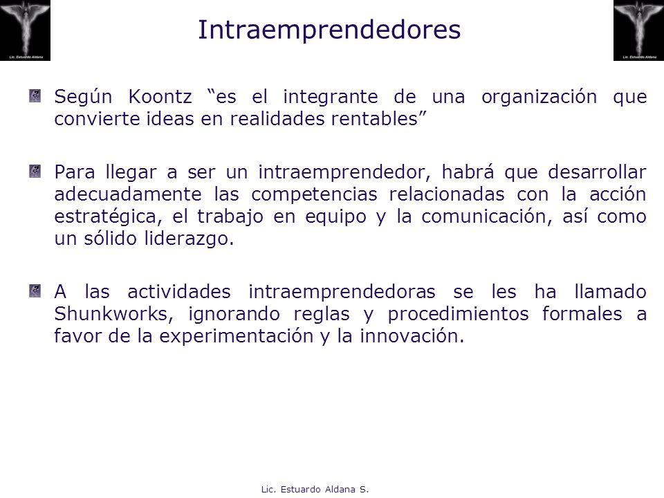 Lic. Estuardo Aldana S. Intraemprendedores Según Koontz es el integrante de una organización que convierte ideas en realidades rentables Para llegar a