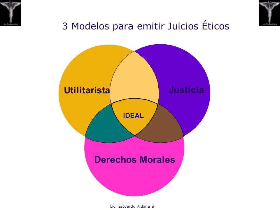 Lic. Estuardo Aldana S. 3 Modelos para emitir Juicios Éticos Utilitarista Justicia Derechos Morales IDEAL